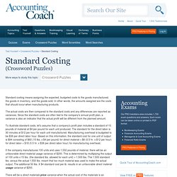 Standard Costing - AccountingCrosswords.com