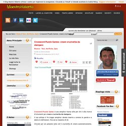 Crossword Puzzle Games: creare cruciverba da stampare
