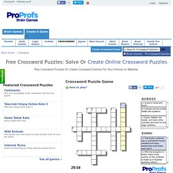 Free Crossword Puzzles: Solve Crossword Puzzle Or Create Online Crosswords Maker