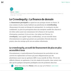 Le Crowdequity : La finance de demain – Mutum – Medium