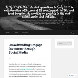 Crowdfunding: Engage Investors through Social Media