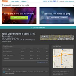 Texas Crowdfunding & Social Media Conference Tickets, Houston