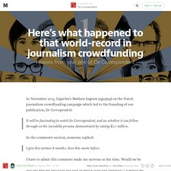 Here's what happened to that world-record in journalism crowdfunding — De Correspondent