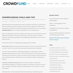 Crowdfunding Goals and Tips
