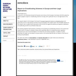 Report on Crowdfunding Schemes in Europe and their Legal Implications « European Expert Network on Culture (EENC)