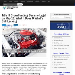 Title III Crowdfunding Became Legal on May 16: What It Does & What's Still Lacking - Crowdfund Insider