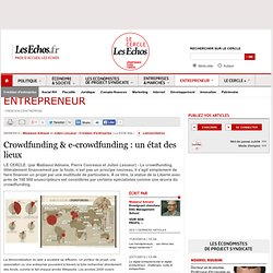 Crowdfunding & e-crowdfunding : un état des lieux