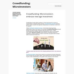 Crowdfunding: Microinvestors embrace new-age Investment