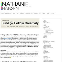 The Ultimate Crowdfunding TO-DO list: BEFORE YOU LAUNCH | Nathaniel Hansen - Filmmaker