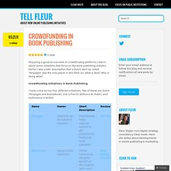 Crowdfunding in book publishing « TELL Fleur
