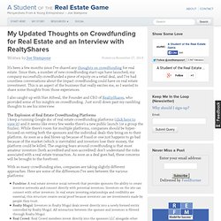 My Updated Thoughts on Crowdfunding for Real Estate and an Interview with RealtyShares