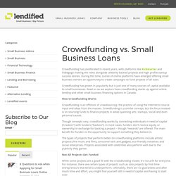Crowdfunding vs. Small Business Loans