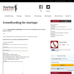 Crowdfunding for Startups | Startup Addict