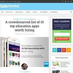 A crowdsourced list of 10 top education apps worth trying