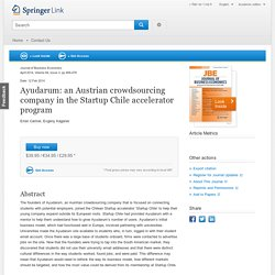 Ayudarum: an Austrian crowdsourcing company in the Startup Chile accelerator program