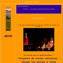 """""""Croyants de toutes religions : Ouvrez vos portes à votre prochain !"""""""