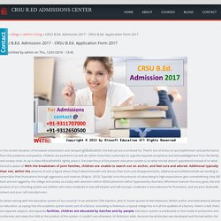 CRSU B.Ed. Admission 2017 - CRSU B.Ed. Application Form 2017