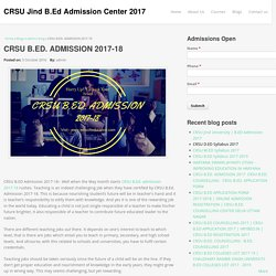CRSU B.ED. ADMISSION 2017-18