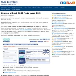 Crucero a Brasil 100€ (más tasas 54€)