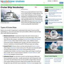 Cruise Ship Vocabulary
