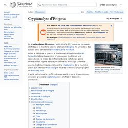 Cryptanalyse d'Enigma