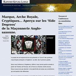 Marque, Arche Royale, Grades Cryptiques... Aperçu sur les 'Side Degrees' de la Maçonnerie Anglo-saxonne.