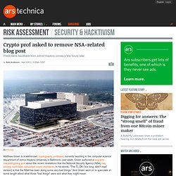 Crypto prof asked to remove NSA-related blog post