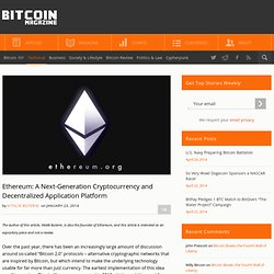 Ethereum: A Next-Generation Cryptocurrency and Decentralized Application Platform