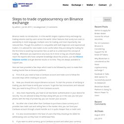 Steps to trade cryptocurrency on Binance exchange
