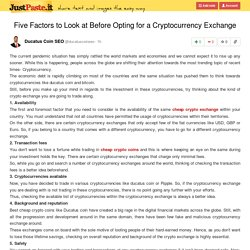 Five Factors to Look at Before Opting for a Cryptocurrency Exchange