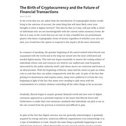The Birth of Cryptocurrency and the Future of Financial Transactions  – Telegraph