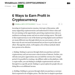 6 Ways to Earn Profit in Cryptocurrency