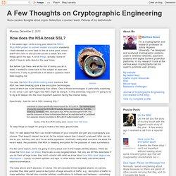 How does the NSA break SSL?