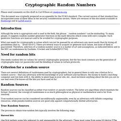 Cryptographic Random Numbers
