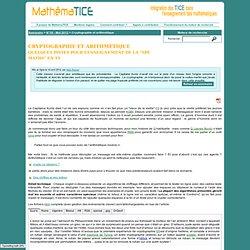 Cryptographie et arithmétique