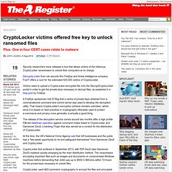 CryptoLocker victims offered free key to unlock ransomed files