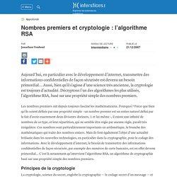 Nombres premiers et cryptologie : l'algorithme RSA