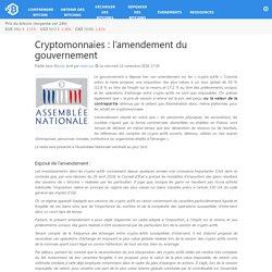 Cryptomonnaies : l'amendement du gouvernement