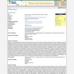 Instituto de Medicina Tropical de São Paulo 12/11/19 Thèse en ligne: Pesquisa de Giardia spp., Cryptosporidium spp., Toxoplasma gondii e Cyclospora cayetanensis em água para consumo humano