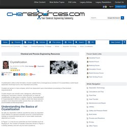Crystallization - Separation Technology - Articles - Chemical Engineering - Frontpage - Cheresources.com