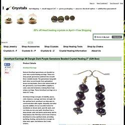 """I Dig Crystals Amethyst Earrings 09 Dangle Gemstone Dark Purple Beaded Silver Crystal Healing 2"""" : amethyst"""