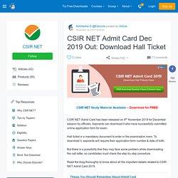 CSIR UGC NET 2016 Admit Card