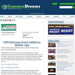 CSPI 11/04/11 CSPI Releases Food Additives Mobile App