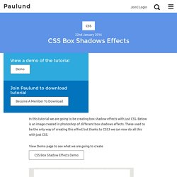 Creating Different CSS3 Box Shadows Effects