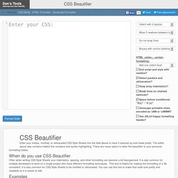 CSS Formatter and Beautifier