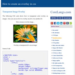 CSS Overlay Techniques, How to create an overlay in css