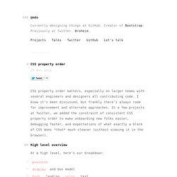 CSS property order · @mdo