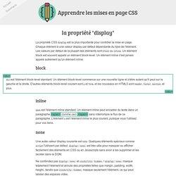 """CSS - la propriété """"display"""""""