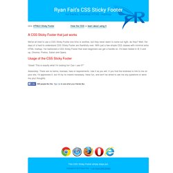 A CSS Sticky Footer