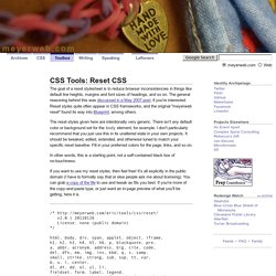 CSS Tools: Reset CSS